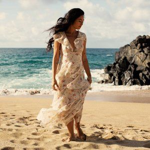 NWT Doen nico chiffon ruffle maxi wedding floral dress XS 0 2